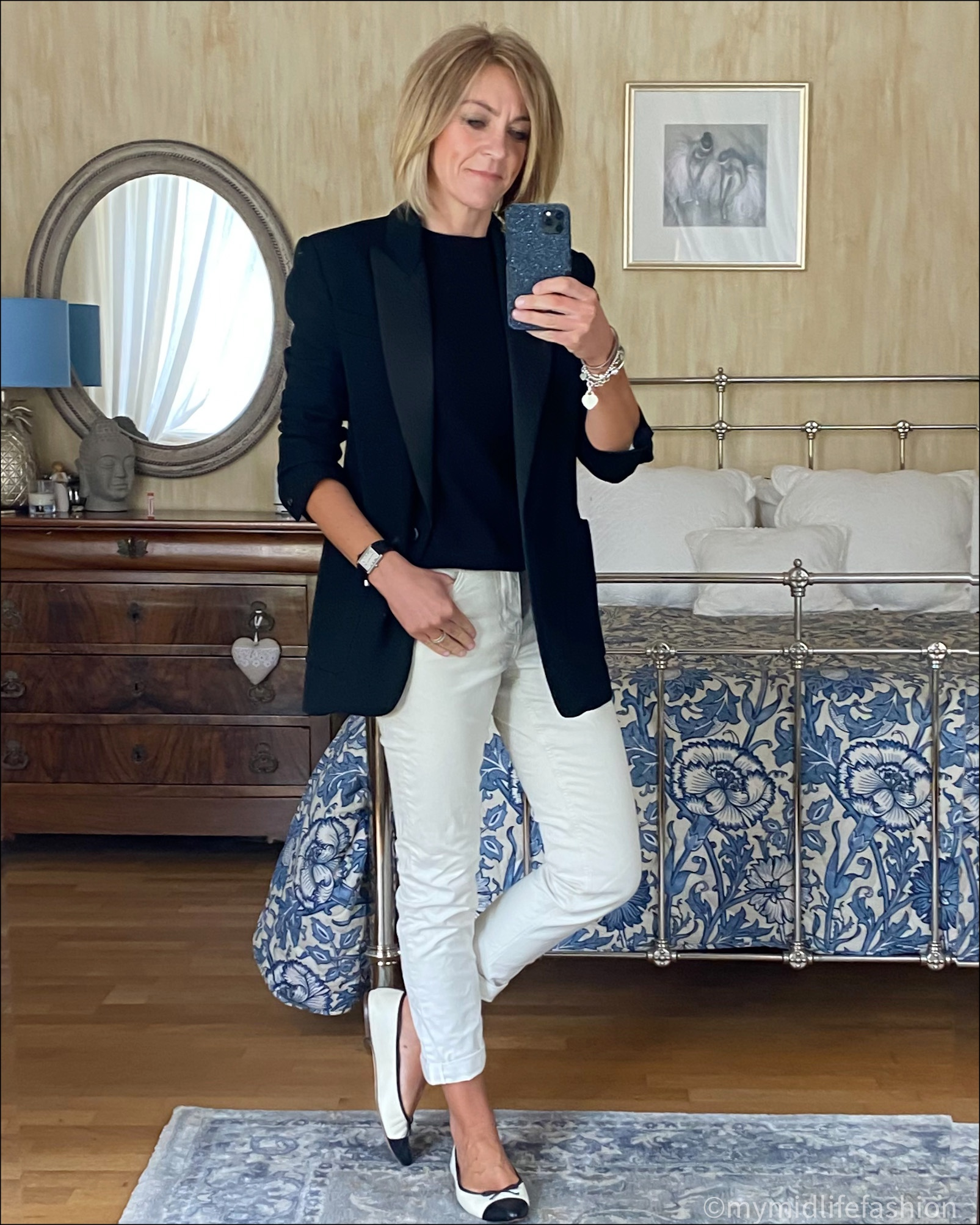 my midlife fashion, boden girlfriend jeans, Isabel Marant tuxedo jacket, h and m short sleeve cashmere jumper, j crew two tone ballet flats