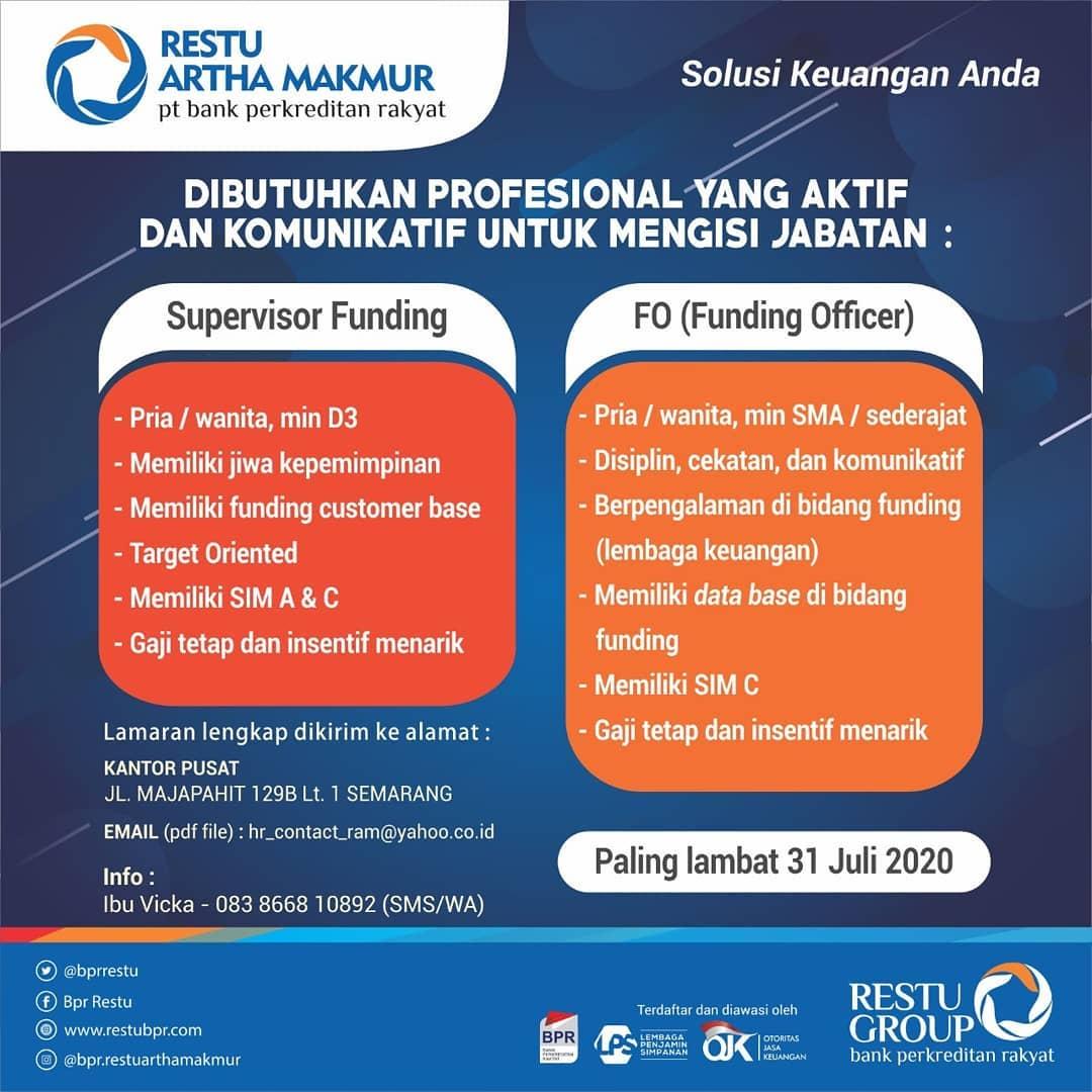 Lowongan Kerja Semarang di PT Bank Perkreditan Rakyat Restu Artha Makmur Untuk Posisi Supervisor Funding & Funding Officer