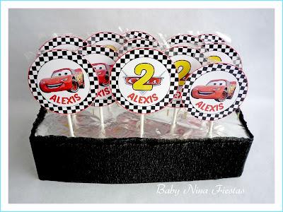 kit cumpleaños cars piruletas personalizadas