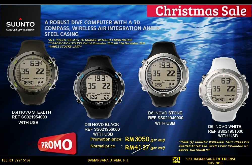 Limted Time Christmas Promotion!!!! Suunto D6i Novo on Sales!!!