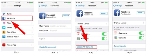 sync contact facebook iphone