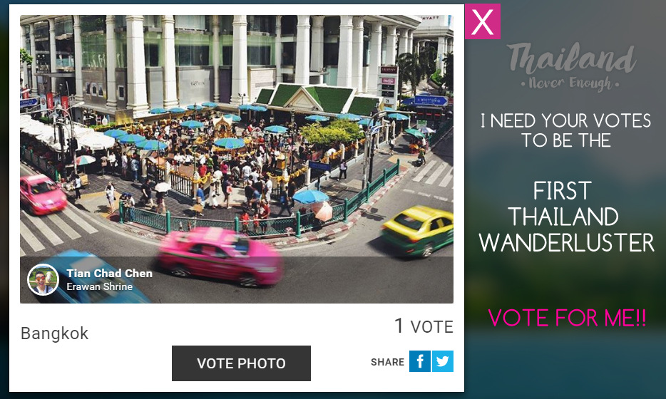 'VOTE FOR ME!! THAILAND WANDERLUSTER ThailandNeverEnough - TianChad