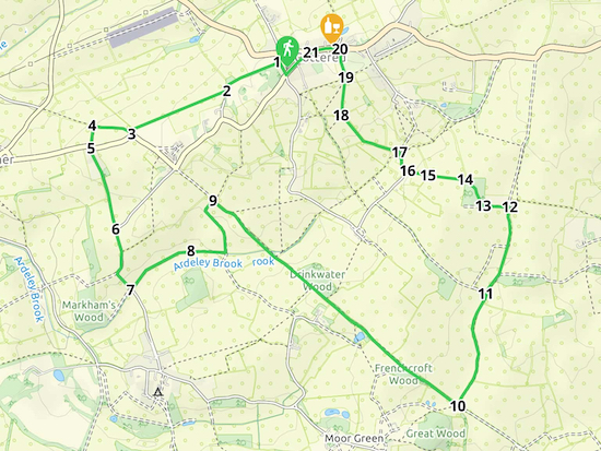 Map for Walk 100: Cottered S Loop  Created on Map Hub by Hertfordshire Walker  Elements © Thunderforest © OpenStreetMap contributors  Note: There is a larger, more-detailed map embedded at the end of these directions