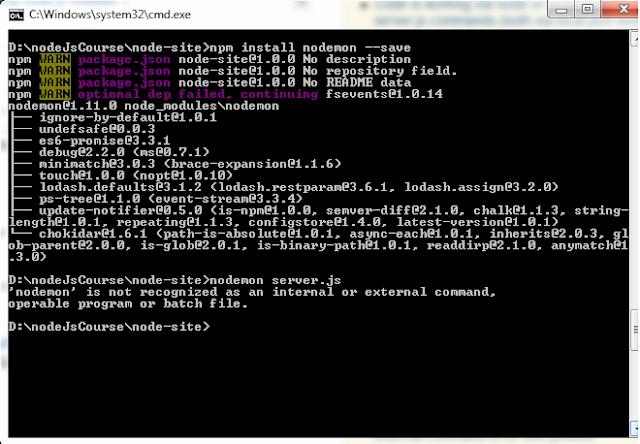 حل مشكلة ( node is not recognized as an internal or external command )