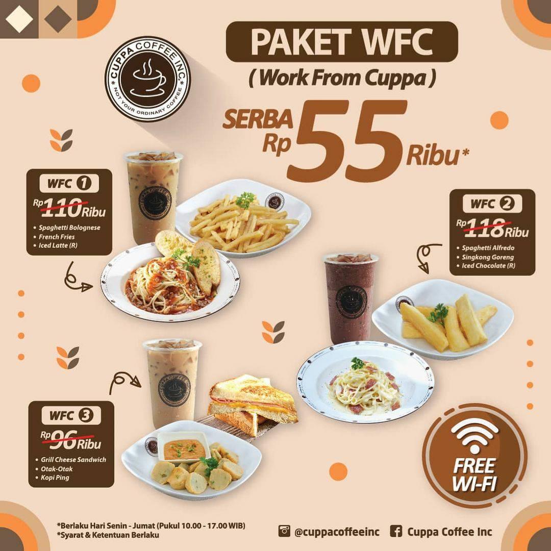 Promo CUPPA COFFEE harga spesial PAKET WFC (Work From Cuppa) Serba Rp. 55 Ribu