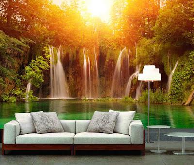 naturtapet fototapet vattenfall tropisk landskap fondtapet 3d