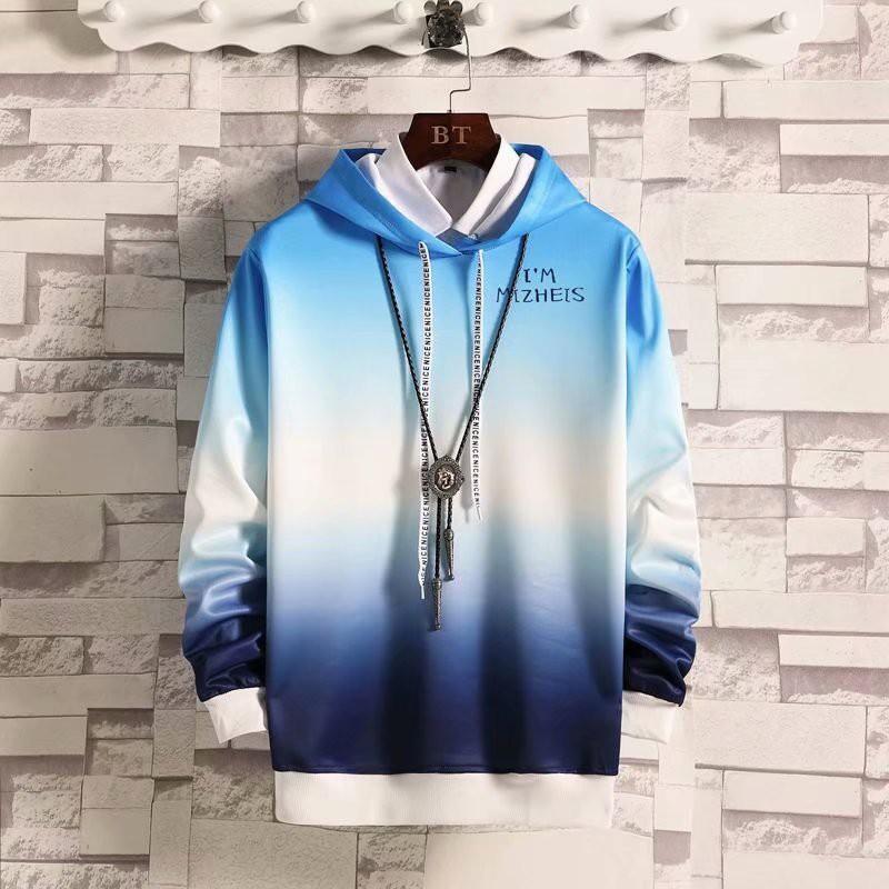 Áo hoodie tay dài kiểu gradient phong cách Hồng Kông