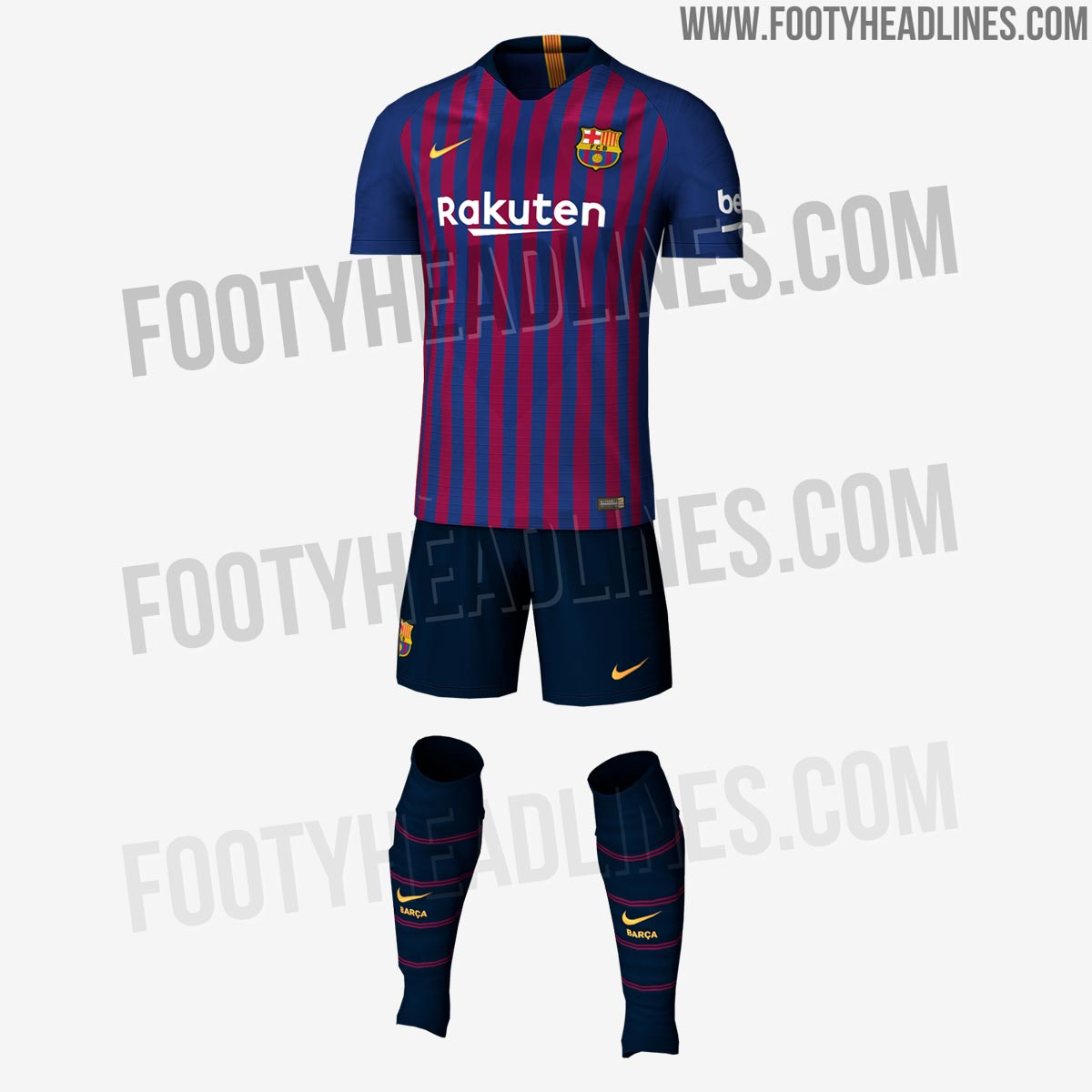 exclusive fc barcelona 18 19 home kit leaked footy headlines. Black Bedroom Furniture Sets. Home Design Ideas