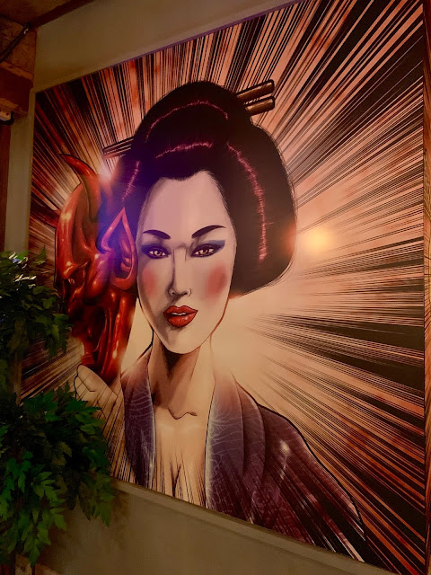 murals at Yuu Kitchen, Mayfair.