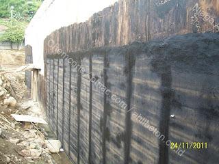 waterproofing membrane pada retaining wall