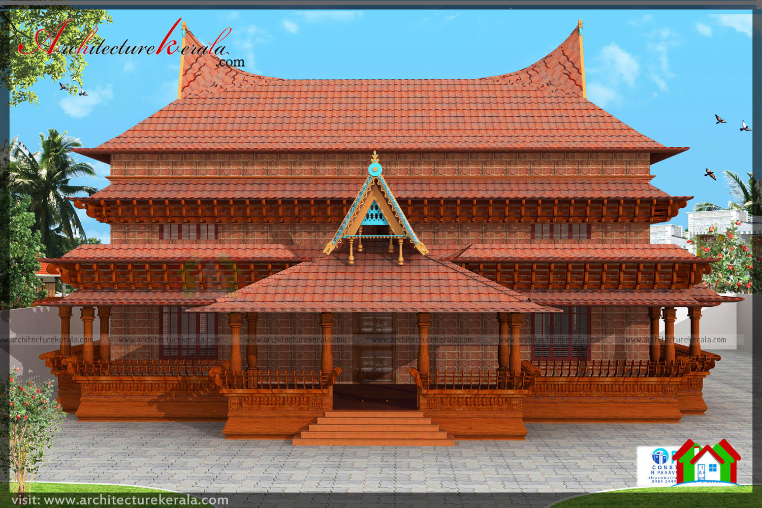 Traditional kerala style house plan with two elevations for Traditional house architecture