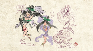 Character design sketches of Sakuya from the PS2 game Okami.