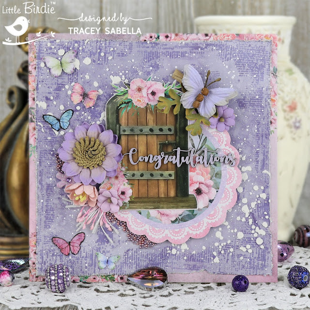 Congratulations Mixed Media Card by Tracey Sabella for Little Birdie Crafts: #traceysabella #littlebirdiecrafts #littlebirdieonline #littlebirdieflowers #chipboard #mixedmedia #diycard #diycards #diycrafts #diycraft #stencil #stencils #graduationcard