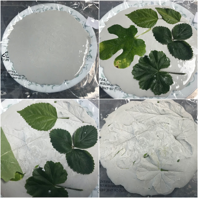nature inspired platter made with plaster of paris