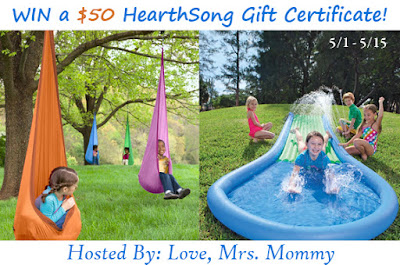 Enter the $50 HearthSong Gift Certificate Giveaway. Ends 5/15