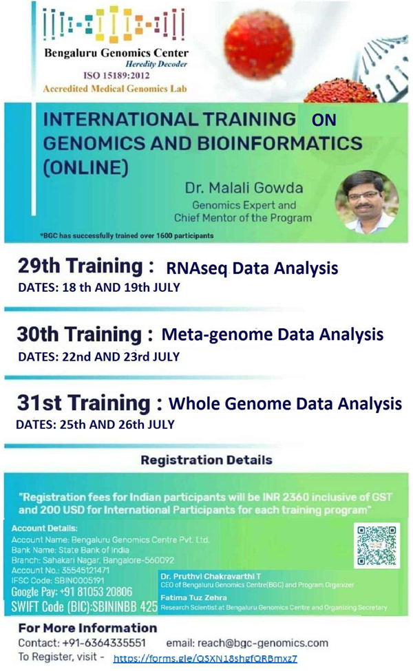 INTERNATIONAL TRAINING SERIES on GENOMICS & BIOINFORMATICS (ONLINE) | from 18th JULY 2020