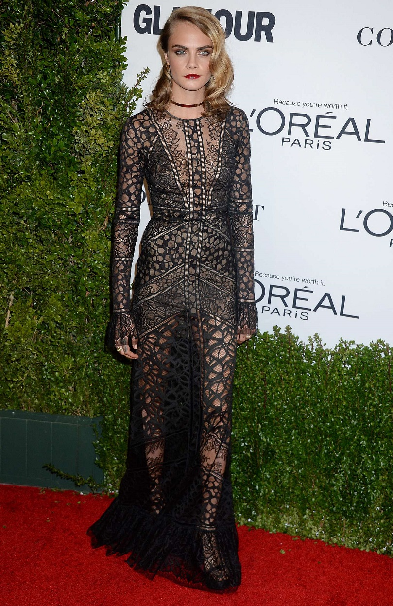Cara Delevingne goes sheer for the Glamour Women of the Year Awards 2016