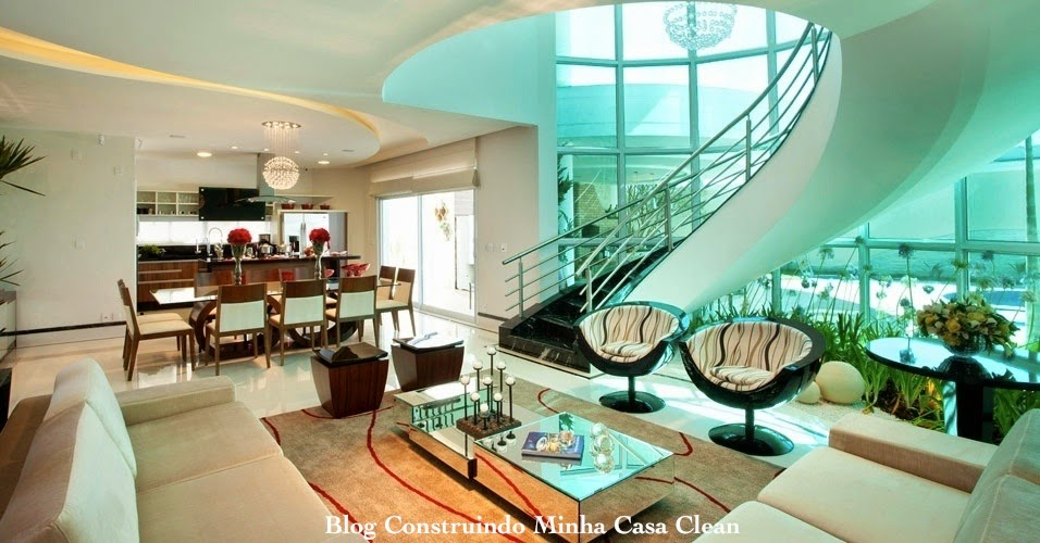 Construindo minha casa clean 65 salas de jantar e estar for Sala de estar moderna grande