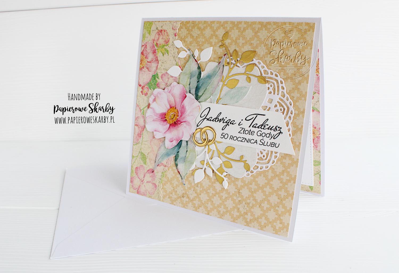 scrapbooking cardmaking handmade rękodzieło kartka kartki karteczka w pudełku rocznica ślubu perłowe gody 30 rocznica ślubu okolicznościowa gratulacyjna prezent złote gody 50 rocznica ślubu
