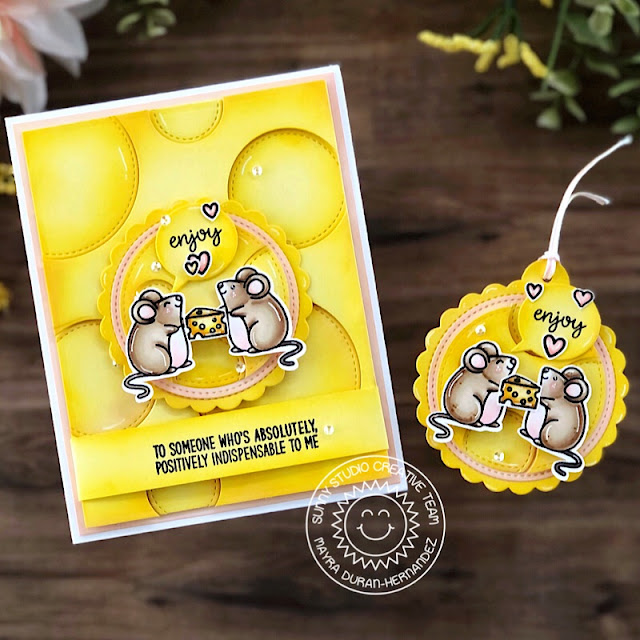 Sunny Studio Stamps: Stitched Circle Dies Harvest Mice Scalloped Tag Dies Friendship Card by Mayra Duran-Hernandez