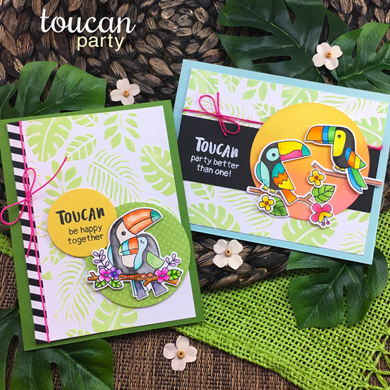 Toucan Cards by Jennifer Jackson | Party Stamp set and Tropical Leaves Stencil by Newton's Nook Designs #newtonsnook #handmade