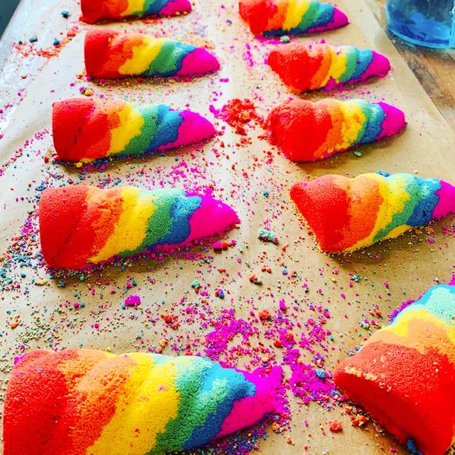 Abi's Bath Bombs Rainbow unicorn horns