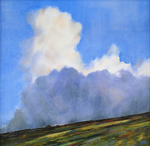a color image of Alastair Campbell-Binning art in 2014, odd landscape with clouds