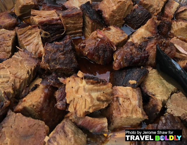 Burnt Ends, one of beautifully smoked meats we enjoyed on this food tour of Kansas City, Kansas - Photo by Jerome Shaw for TravelBoldly.com