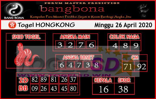 Prediksi HK 26 April 2020 - Bang Bona HK