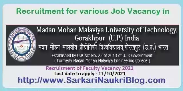 MMMUT Gorakhpur Faculty Vacancy Recruitment 2021