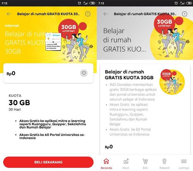 Syarat Kuota 30GB Indosat Gratis untuk Belajar Dirumah