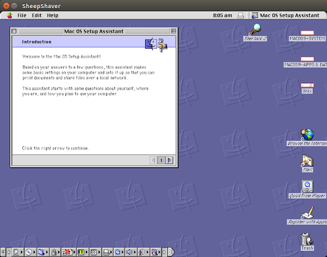 Supratim Sanyal's Blog: Mac OS 9 Setup Assistant in SheepShaver for Ubuntu Linux