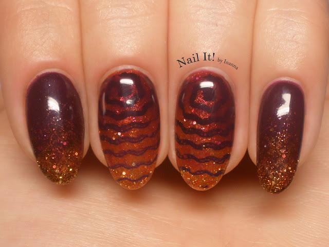 Golden Violet Swirl (Semilac Plum & Royal Gold, Mundo de Uñas 14 Violet, UberChic 6-01)