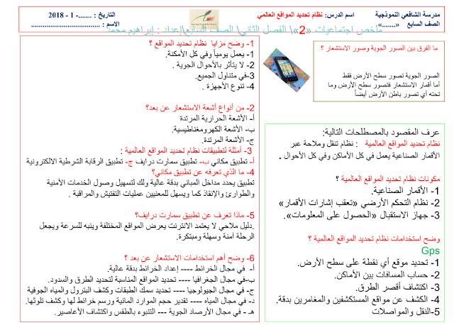 ملخص (الفصل الثاني) دراسات اجتماعية للصف السابع