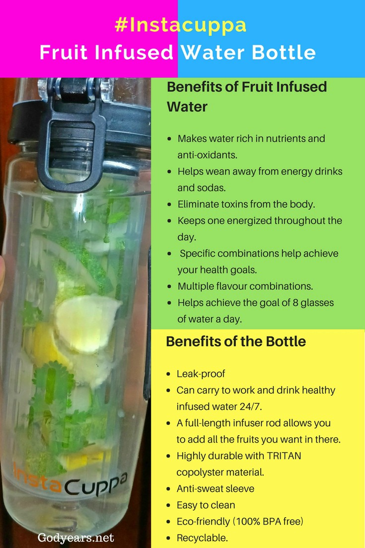 Benefits of fruit infuser water and bottle #Instacuppa