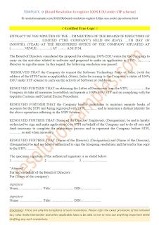 board resolution format for stpi registration