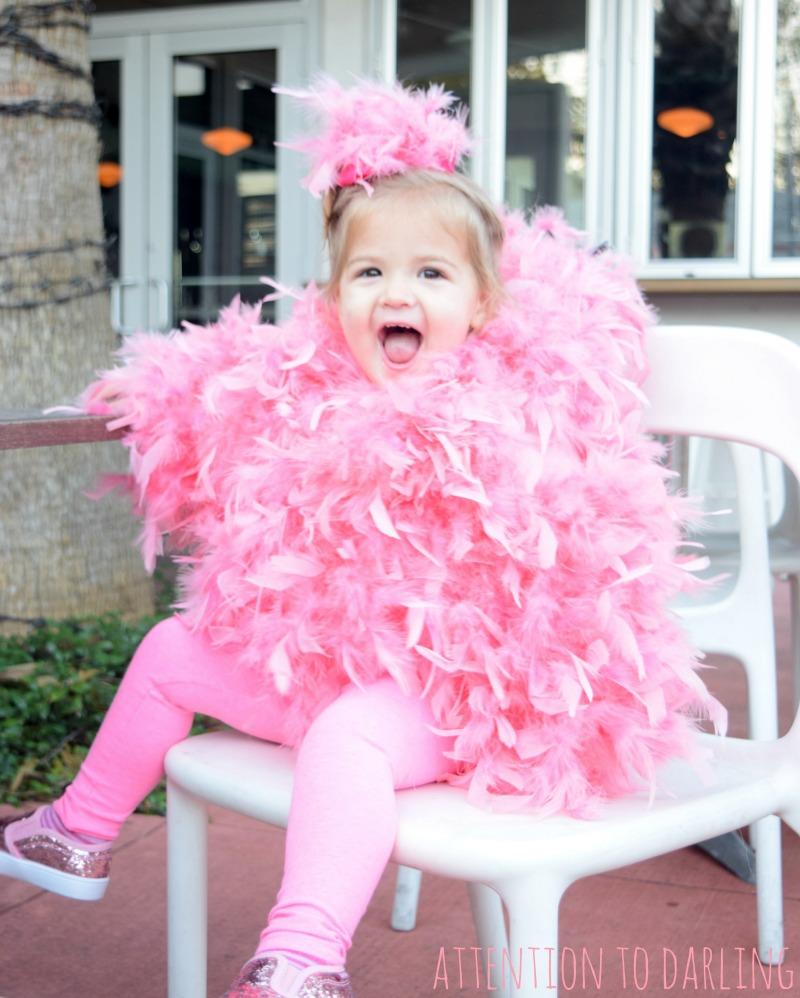 last minute easy diy flamingo halloween costume - Last Minute Toddler Halloween Costumes