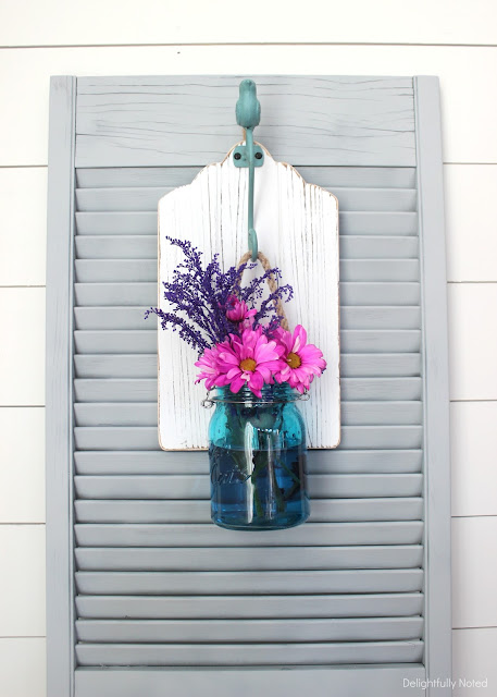 I could do this! Simple hanging mason jar wall plaque.