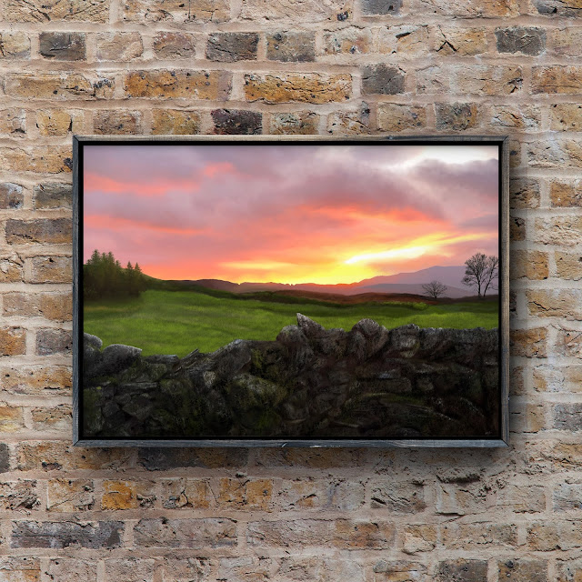 Dry stone wall at sunset