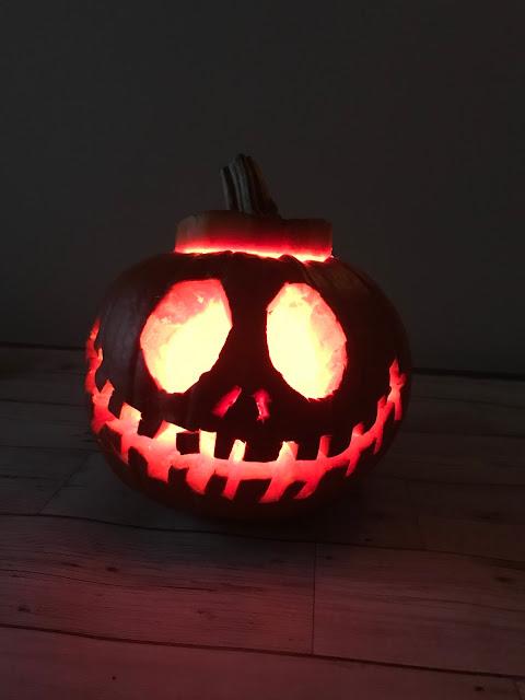 Pumpkin picking at Farmer Copleys - pumpkin carved as Jack Skellington