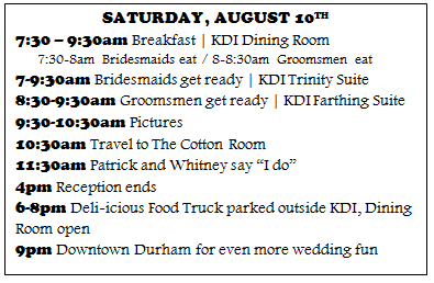 The Eibls Wedding Throwback Wedding Day Timeline