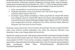 Keuskupan Agung Jakarta Imbau Seluruh Umat Katolik Hentikan Misa Offline
