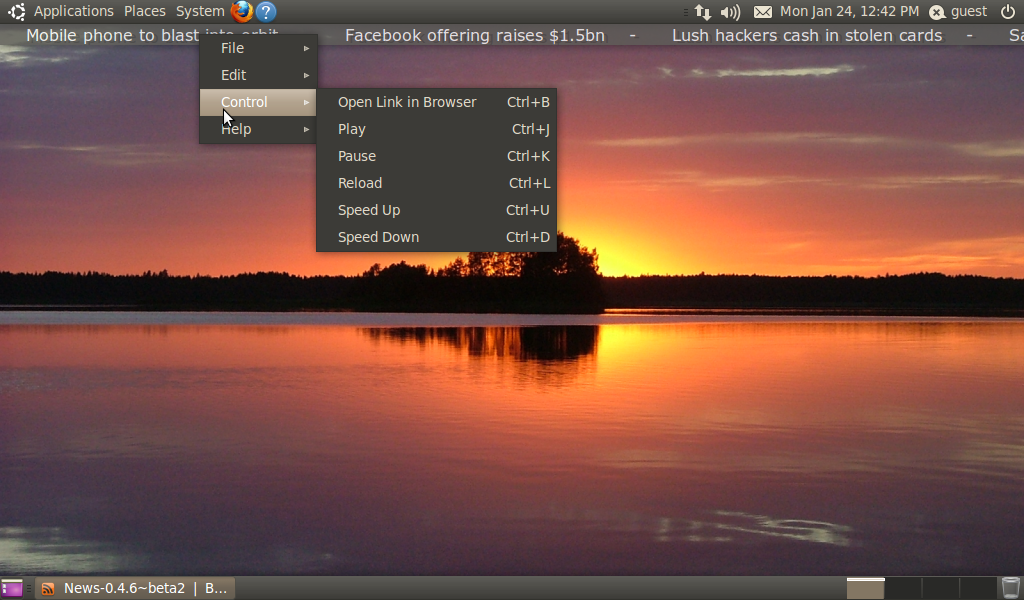 NEWS RSS Ticker, Read Your RSS Feeds Right-Below the Panel in Ubuntu