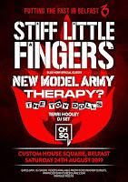 Stiff Little Fingers August 2019 Belfast tour poster
