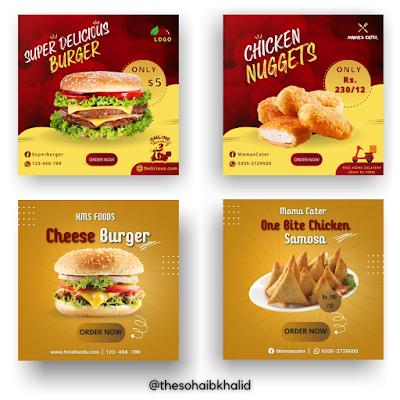 Design Fast Food social media post in Canva