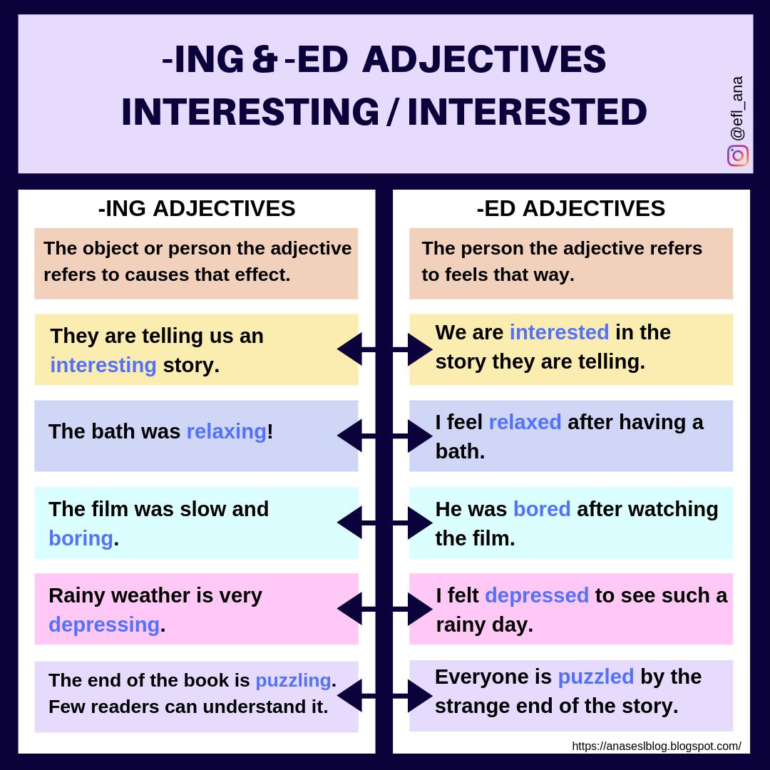 Ana S Esl Blog Ing And Ed Adjectives