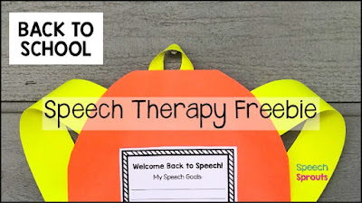 Free! A bright orange paper backpack craft to welcome your speech therapy students back to school and teach them about their therapy goals. #speechsprouts #backtoschool #speechtherapy #backtoschoolcraft