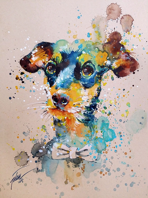 06-Dog-Tilen-Ti-Colorful-Watercolor-Paintings-of-Animals-www-designstack-co