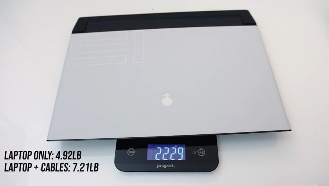 The weight of this gaming laptop is found 4.92 pounds. With charging cables, it has raised to 7.21 pounds, measured using propert weight meter.