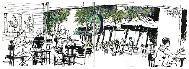 Sketch of Starbucks Cafe from inside